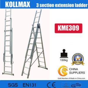 Aluminium 3 Section Extension Ladder 3X9 pictures & photos
