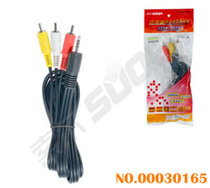 Factory Direct Sale 1.5m AV Cable 3.5mm Triple to 3 RCA Media Cable (AV-33A-1.5m-red Packing) pictures & photos