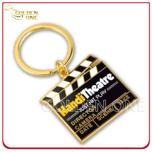 Customized Printed Gold Plating Movie Clapperboard Metal Keychain pictures & photos