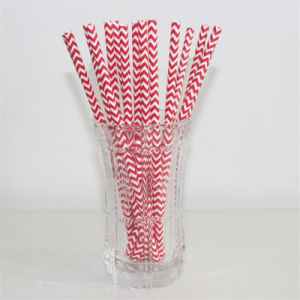 2016 New Design Disposable Party Paper Straws Red Chevon pictures & photos