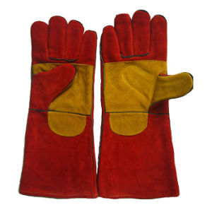 "16"" Double Palm Heat Resistant Welding Gloves pictures & photos"