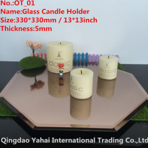 5mm Octagon Brown Glass Mirror Candle Holder pictures & photos