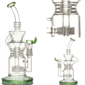 Recycler Glass Water Pipe for Smoke with Barrel Perc (ES-GB-054) pictures & photos