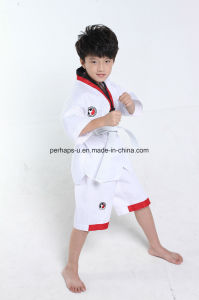 High Quality Seventh Sleeve Taekwondo Uniform Suit with Waistband pictures & photos