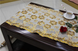 50cm Width Lace Crochet PVC Gold/Silver Tablecloth (JFBD014) pictures & photos