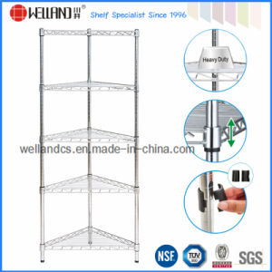 Metal Chrome Bathroom Corner Wire Rack with Fan-Shaped Style (CR3030120C5C) pictures & photos