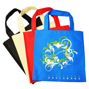 Solid Color Non Woven Bag for Shopping with Flower