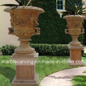 Garden Decorative Natural Yellow Marble Planters for Sale pictures & photos