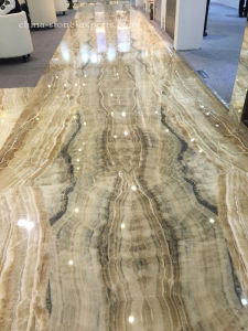 Golden Cream Onyx Marble Big Flooring Tile for Hotel Lobby pictures & photos
