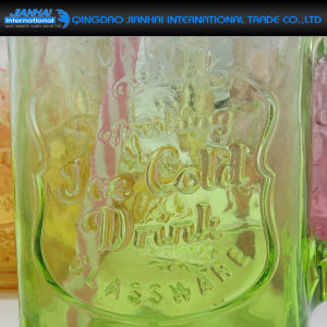 Embossed Glass Bottle and Mason Jar for Milk Shake and Smoothie pictures & photos