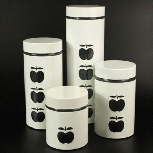 4PC White Stainless Steel Wrap Glass Food Storage Jar Set with Metal Lid pictures & photos
