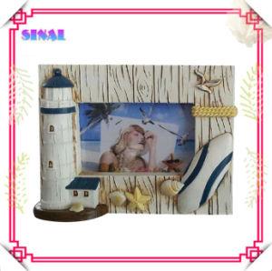 Painted Polyresin Lighthouse Photo Frame Souvenir
