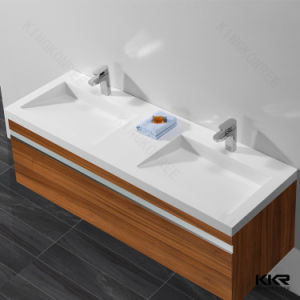 Kkr New White Solid Surface Cabinet Wash Hand Basin pictures & photos