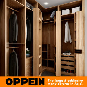 Modern U-Shaped Wood Grain Walk-in Closet Wooden Bedroom Wardrobe (YG16-M09) pictures & photos