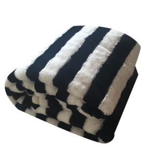 100% Polyester Black and White Stripe Jacquard Imitation Fur and Sherpa Blanket pictures & photos