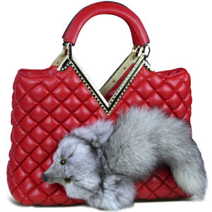 Hot Sell Real Fox Fur Leather Brown Lady Hand Bag