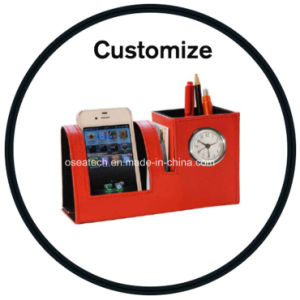 Custom Leather Pen Holder with Clock pictures & photos
