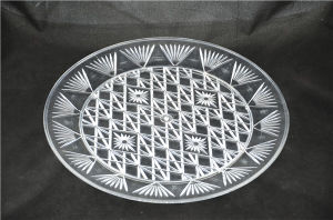 Plastic Diamond Cut Crystal Round Serving Tray