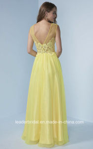 Yellow Lace Party Prom Formal Gowns Chiffon Evening Dress J446 pictures & photos