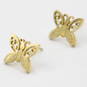 Stainless Steel Gold Plated Butterfly Earring Jewelry pictures & photos