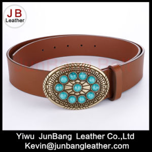 Fashion Ladies PU Leather Belts with Turquoise Stones