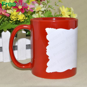 Manufactory Sublimation Mug with White Patch Irregular Edge pictures & photos