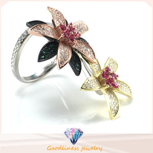 Elegant Flower Ring for Woman′s Fashion Jewelry Two Ways Wearing Ring Sliver Jewelry Ring R10503 pictures & photos
