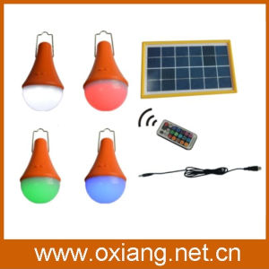 Multi Color Changing 3W Solar LED Light Bulb with Remote Controller pictures & photos