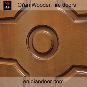 Teak Veneer Double-Leaf Wooden Fire Front Door pictures & photos