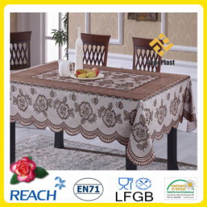 PVC Vinyl Crochet Lace Ready Made Tablecloth (JFTB-309A-Brown) pictures & photos