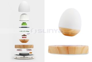 Mini Wood HiFi Wireless LED Bulb Floating Speakers Bluetooth Maglev Wood Speaker pictures & photos