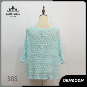Women Blue Half Sleeve Loose Sweater pictures & photos