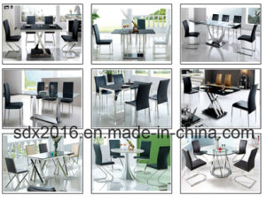 Clear Tempered Glass Top Modern Dining Table Stainless Steel Frame pictures & photos