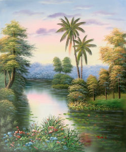 Hot Sale Tree Flower Lake Classical Landscape Oil Painting (LH-340000) pictures & photos