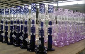 Spiral Coil Glass Water Pipe Smoking Pipe Color Umbrella Percolatar Hand Blown Glass Pipes with Dome pictures & photos