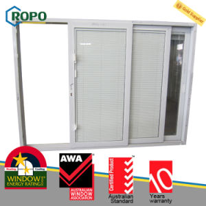 Sound Insulation UPVC Plastic Steel Sliding Glass Door with Blinds Inside Glass pictures & photos