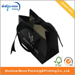 Black Matte Paper Bag with Flat Ribbon Handle pictures & photos