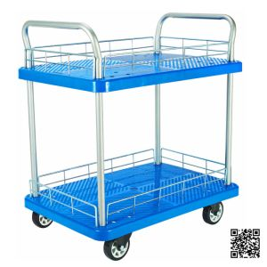 300kg Double Deckers Plastic Hand Trolley with Guardrail pictures & photos