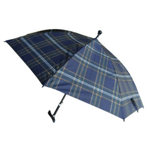 Auto Open Metal Shaft Stick Checked Umbrella (58T057)
