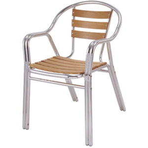 Outdoor Double-Tube Aluminum Plastic Wood Dining Chair (DC-06309) pictures & photos