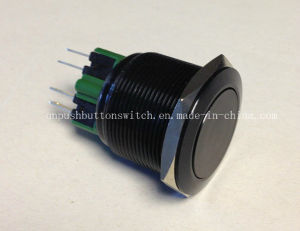 Black Body Flat IP67 25mm Latching Push Button Switch pictures & photos