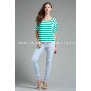 Women′s Ladies Casual Poly Stripe T-Shirt
