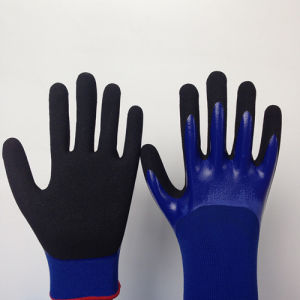 Nylon Gloves with Sandy Nitrile Coated, 3/4 Dipped