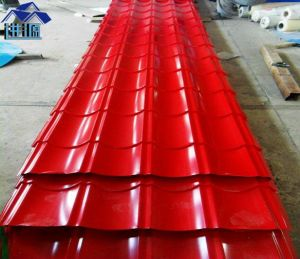 Red Corrugated Steel Roof Tile