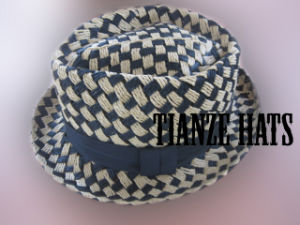 Checked Twist Paper Trilby Hat pictures & photos