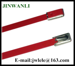 PVC Coated Ball Locking 316 Stainless Steel Cable Ties in Red Color pictures & photos