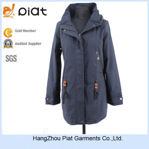 Latest Design Europe Style Fashion Navy Lightweight Long Jacket for Women