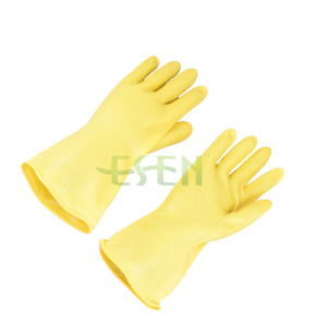 Rubber Glove-- Yellow Color Chemical Resistant Industrial Latex Rubber Work Gloves pictures & photos