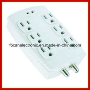 6 Outlets Surge Protected Current Tap with Coaxial Protection pictures & photos