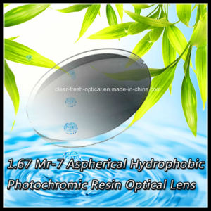 1.67 Mr-7 Aspherical Hydrophobic Photochromic Resin Optical Lens pictures & photos